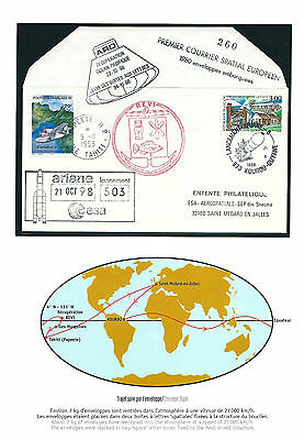 FRANCE BOARDPOST COVER ARIANE 1998 FLOWN ARD KOUROU TO SPACE  Recovery SIGNED