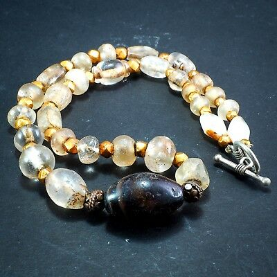 Original Ancient Roman Crystal Bead 22k Solid Gold Ancient agate Bead 1800yrs