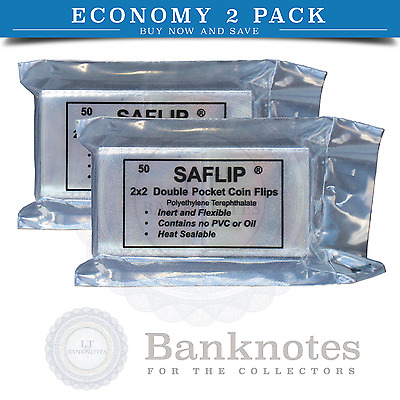 Clear Plastic Coin Holders Sleeves Saflip 2x2 Polyester 2 Packs Deal 100 Units