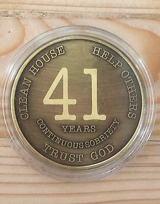 41 Year Bronze Alcoholics Anonymous Coin AA Medallion Bigger Design Free Shippin