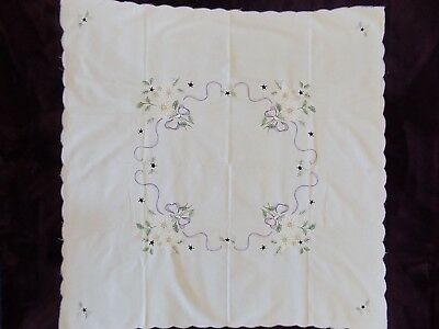 CHRISTMAS TEATIME TABLECLOTH, Embroidery,gold highlights, German, 32x32 inches