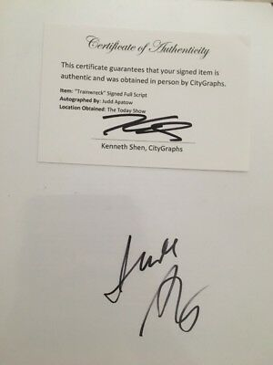 JUDD APATOW Signed TRAINWRECK Movie written by Amy Schumer Authentic Full Script