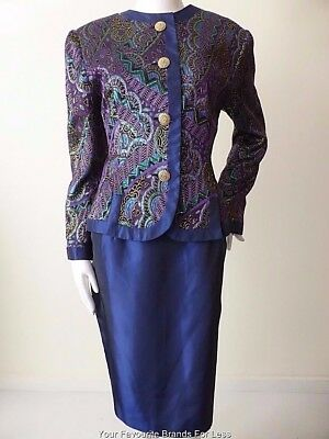 ANTHEA CRAWFORD Skirt and Jacket Suit Size 12 US 8  Made In Australia rrp $899