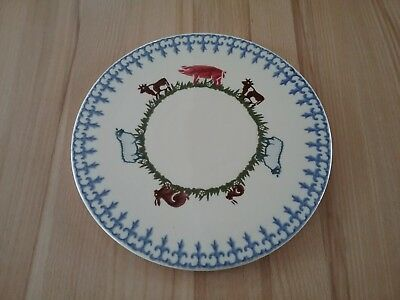 "Brixton Pottery 10.5""  Cake stand Cheese board  Spongeware rabbit sheep pig cow"