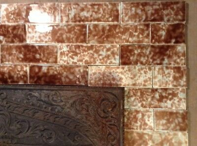 COMPLETE SET VINTAGE VICTORIAN ANTIQUE FIREPLACE TILE MANTLE SURROUND Brown AET