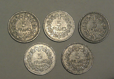 D17 world coins France collection of 5 different years 5 Francs French coins