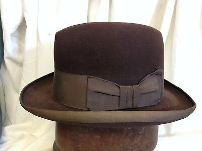 a69579f2cac Vintage Adam Premier Quality Aquashed Treated Mens Brown Fur Felt Homburg  Hat s7