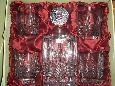 Galway Crystal Kells Square Decanter & 4 Tumblers on offerBrand New