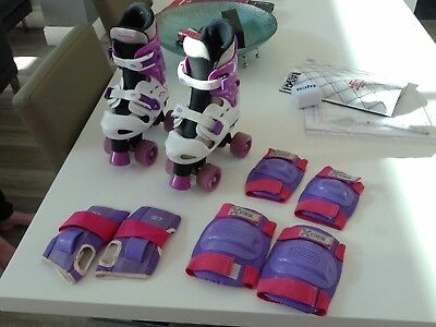 Girls osprey roller skates, purple and white, size adjustable 13-3 and pads