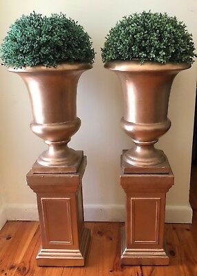 Pair Of French Gold Gilt Urns With Pedestal And Topiary