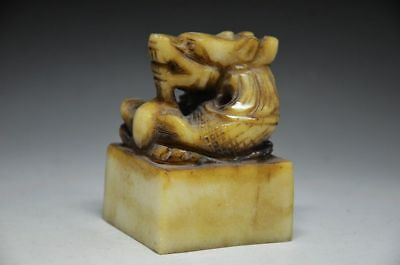 Chinese Ancient Seals Shoushan Jade Hand-Carved Dragon Seal Statue