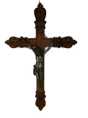 French Fleur de Lis Large Hand Carved Oak Hanging Crucifix Cross Jesus Christ