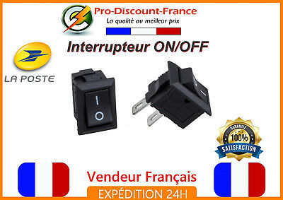 Interrupteur Bascule ON OFF 250V 10A Bouton Electronique ON/OFF 19,5mm x 12,3mm
