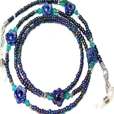 Reading eye glasses spectacle chain holder lanyard gift Dark Blue Iris Daisy