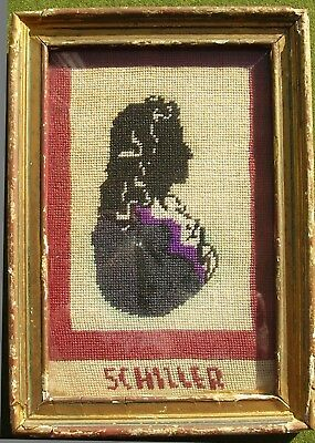 Antique Sampler Of Schiller German Poet Framed