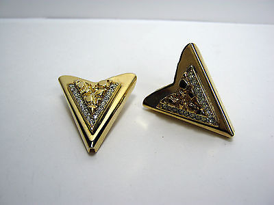 """Vintage Collar Tips Gold Tone """"nuggets And Rhinestones"""" U.s. Patent"""