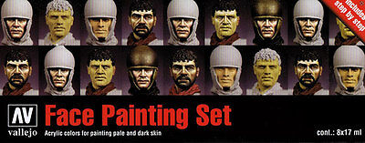 Face Painting Set: 8 Paint Set for Model Soldiers, Figures (Vallejo 70119)
