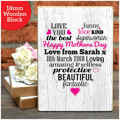 Mothers Day Gifts PERSONALISED Love Heart Wooden Block Mum Mummy Mothers Day Her