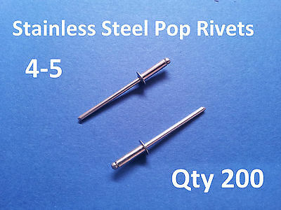 200 POP RIVETS STAINLESS STEEL BLIND DOME 4-5 3.2mm x 11mm 1/8""