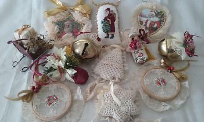 Vintage Brass Bell Santa Victorian Shabby Cottage Chic Christmas Ornament Lot