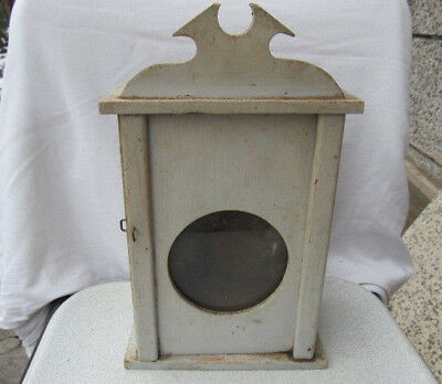 Antique Primitive Old  Wooden Wall Hanging Clock Box Original White Painted