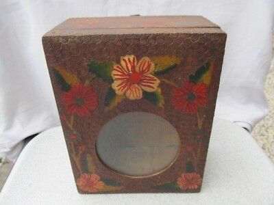 Antique Primitive Old  Wooden Wall Hanging Clock Box Original Color Painted