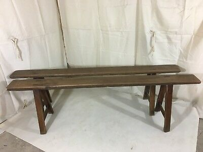 Pair of vintage trestel benches
