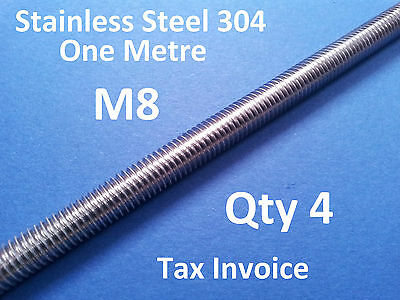 4 X STAINLESS STEEL ALLTHREAD M8 304ss ONE METRE 1000mm x 8mm THREADED ROD BAR