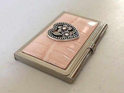 BRIGHTON Heart & Flowers Pink Leather Silvertone Metal Business Credit Card Case