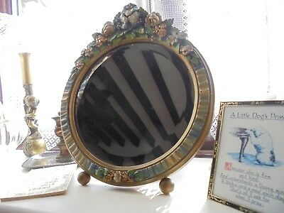 Vintage Barbola Dressing Table Mirror, Ball Feet - On Back Stand