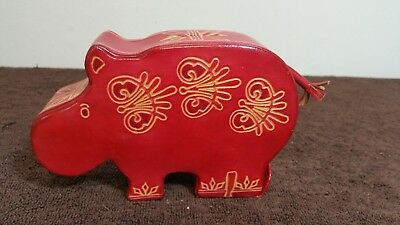 Embossed Red Leather Hippopotamus Coin Bank
