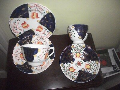 Antique Gaudy Welsh trio & a cup and saucer. Tulip pattern