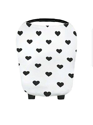 Stretchy Multi-Use Car Seat Canopy Nursing Cover Baby Girl Hearts
