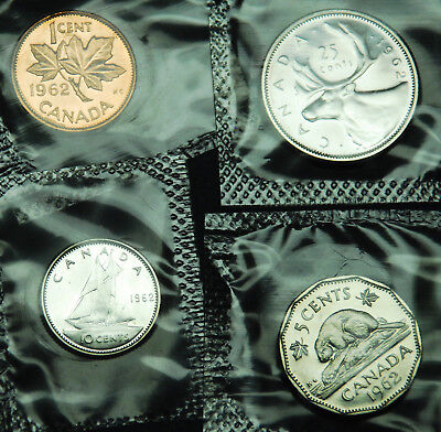 1962 prooflike Canadian coins in original mint cello:  1¢, 5¢, 10¢ and 25¢