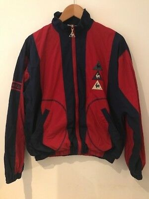 Men's vintage red and blue le coq sportif tracksuit top, size small