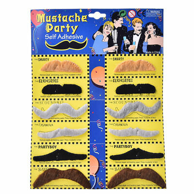 Set Of 12 Novelty Fake Moustache Mustache Fancy Dress Party Self Adhesive NEW