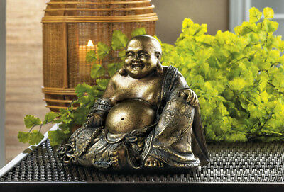 6 3/4 Inch Tall Metallic Fleck Finish Sitting Buddha Statue