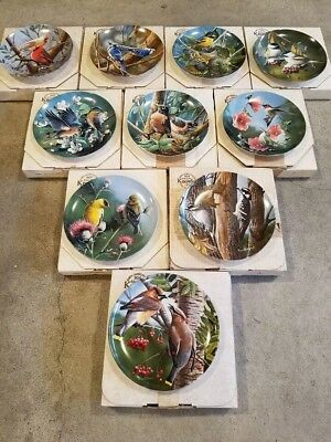KNOWLES Birds of Your Garden Plate Collection - Complete Set w/COA Kevin Daniel