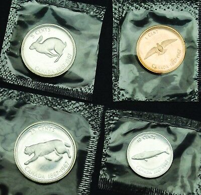 1967 prooflike Canadian coins in original mint cello: 1¢, 5¢, 10¢ and 25¢