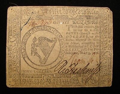 *very Nice 1776 Eight Dollars Spanish Milled Colonial Currency*