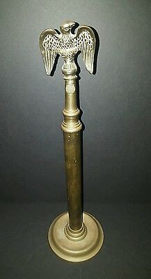 Vintage Brass American Bald Eagle Finial Mounted on Brass Stand 15.75 Inches