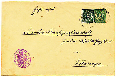 WURTTEMBERG OFFICIAL STAMPED ENVELOPE # DU 5 A I a UPRATED (1903)