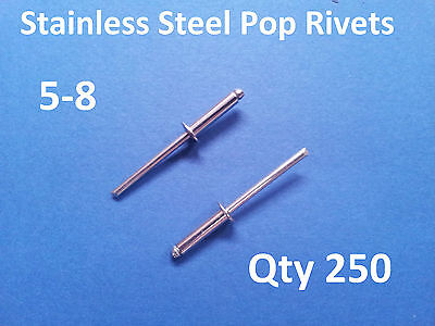 250 POP RIVETS STAINLESS STEEL BLIND DOME 5-8 4mm x 16.5mm 5/32""
