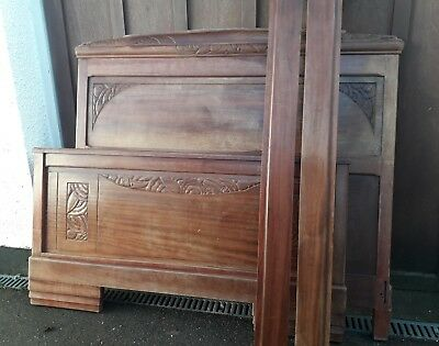 Vintage French Art Deco Wood Bed Frame Double