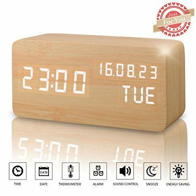 Desk Digital Alarm Clock Wood Shaped Sound Control LCD Display LED Portable New