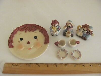 Raggedy Ann Tea Set Andy Resin Cup Saucer Plate Young's Inc. Miniature Toy Mini