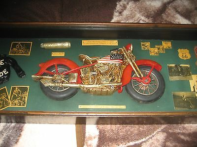 "Harley Davidson Early 70""s Shadow Box Display  Jack Daniels & Jim Beam"