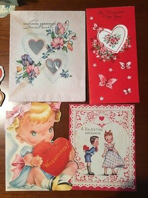 Lot of 11 Vintage Valentines Day Cards, 1940's-60's
