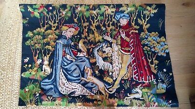 Vintage French Beautiful Medieval Scene Tapestry 125 cm x 95 cm