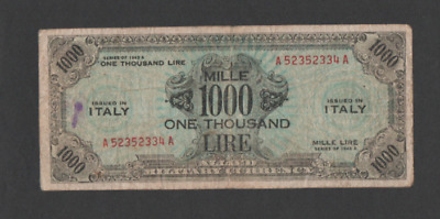Banconota 1000 Am Lire Bilingue Occupazione Americana In Italia Decr 1943